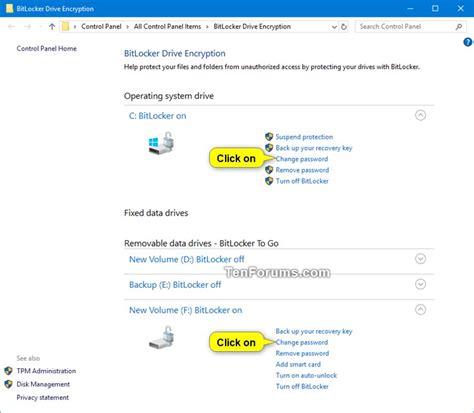 bitlocker tutorial windows 10 change bitlocker password in windows 10 windows 10 tutorials