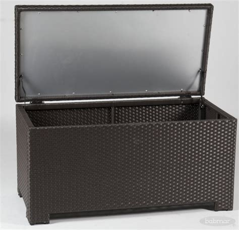 deck box with seat cushion all weather wicker sets with almost black patio cushion