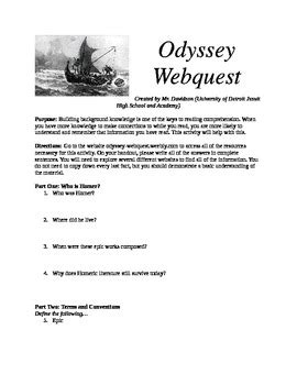 The Odyssey Background Worksheet