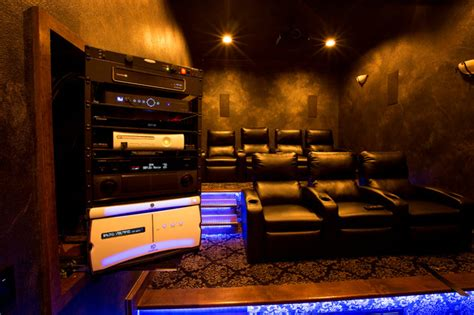 Home Av Room Design Theater Room With Slide Out Rack Contemporary Home