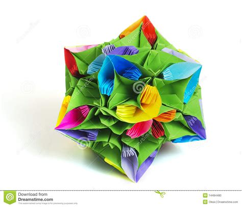 Kusudama Flower Origami - origami kusudama flower stock photo image of white color