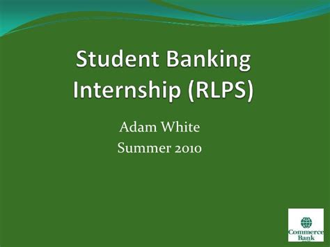 Summer Internship For Mba Students In Banks by Student Banking Internship Project