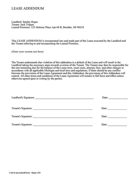 lease addendum template ez landlord forms