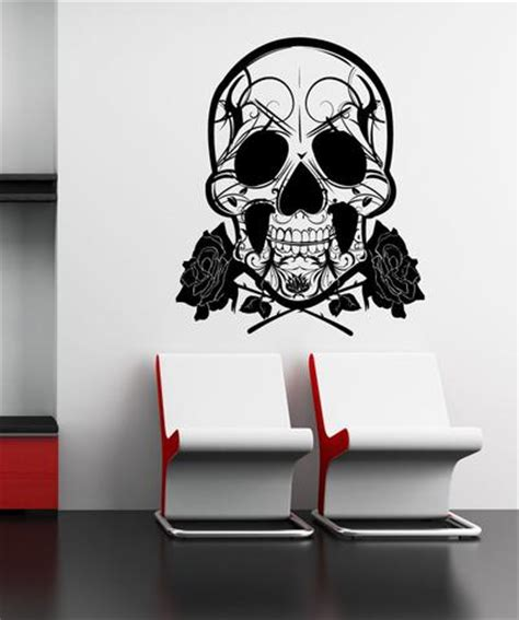 vinyl wall decal sticker skull and roses 1167