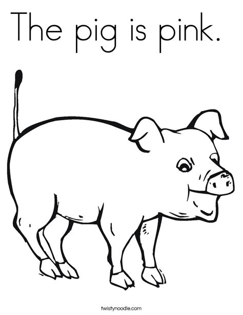 the pig is pink coloring page twisty noodle