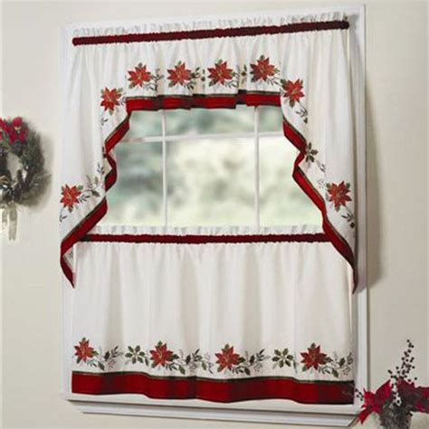holiday kitchen curtains holly embroidered christmas 24 quot tier curtain pair
