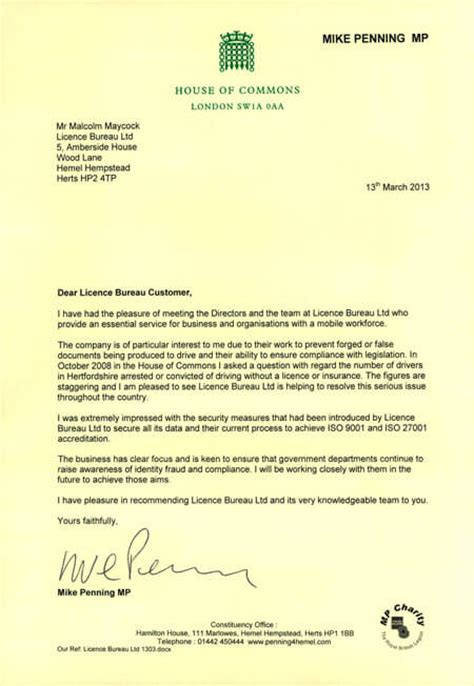 Mp Recommendation Letter For House Of Commons Recommendation Licence Bureau