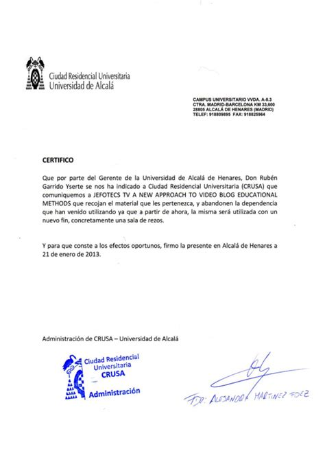 Carta De Apoyo Para Estudios la universidad de alcal 225 sustituye una sala de estudios por una de rezos observatorio