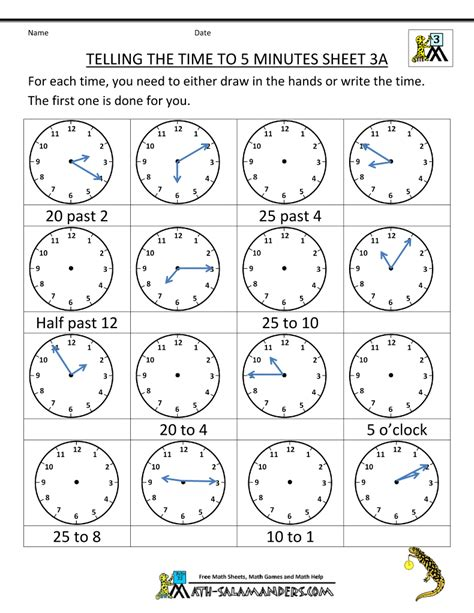 Time To The Hour Worksheets by Telling Time Clock Worksheets To 5 Minutes
