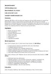 Visa Officer Sle Resume by Professional Cbp Officer Templates To Showcase Your Talent Myperfectresume