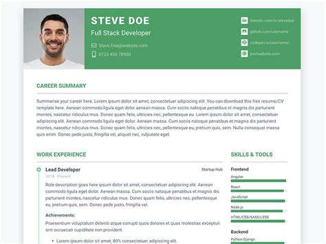 Pillar Free Bootstrap 4 Resume Cv Template For Developers Ux Bootstrap Bootstrap Resume Template