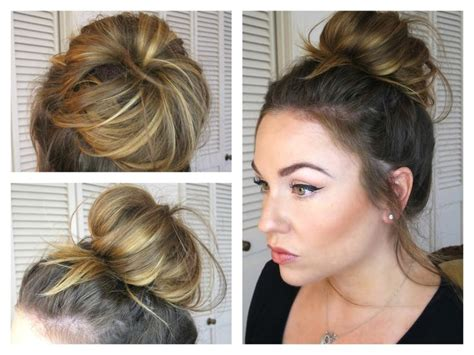 easy hairstyles for thin hair pinterest messy bun topknot tutorial quick and easy with secret