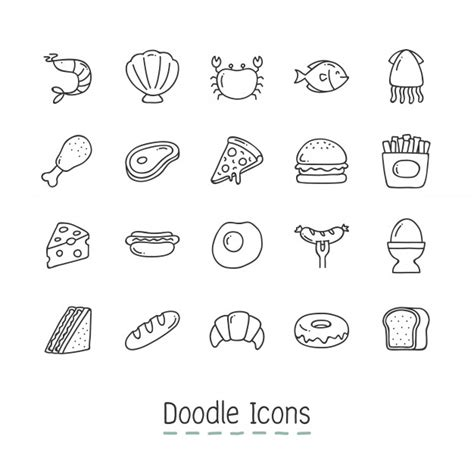 free doodle icons doodle food icons vector free