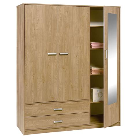 Wardrobe With 2 Doors by Felix 3 Door 2 Drawer Wardrobe Brighton Oak Bedroomfurnitureworld Co Uk
