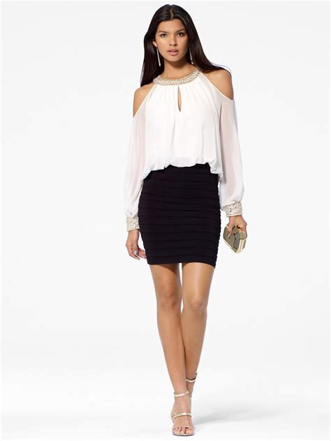Black amp white blouson dress from cach 233 cocktail
