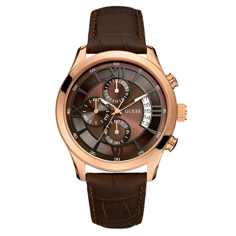 Guess Romawi Date Leather Brown guess mens chronograph brown croc embossed leather