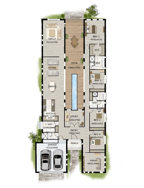 plans for homes floor plan friday pool in the middle narrow block