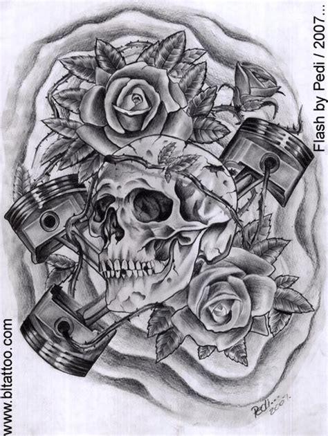 skull and piston tattoos skull and pistons by pedi on deviantart