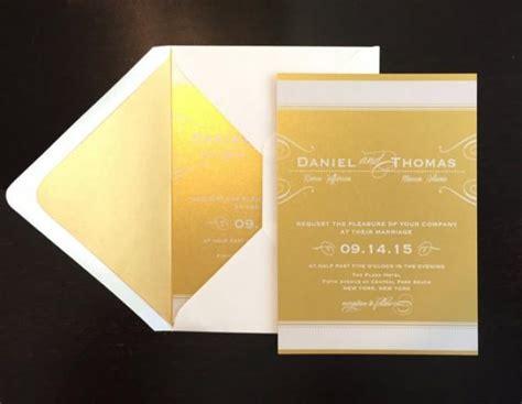 sample gold wedding invitation with white ink wedding