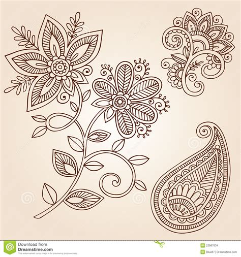 flower tattoo vector free henna tattoo flower doodle vector design elements stock