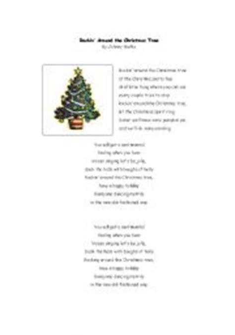 printable rockin around the christmas tree lyrics english teaching worksheets christmas tree