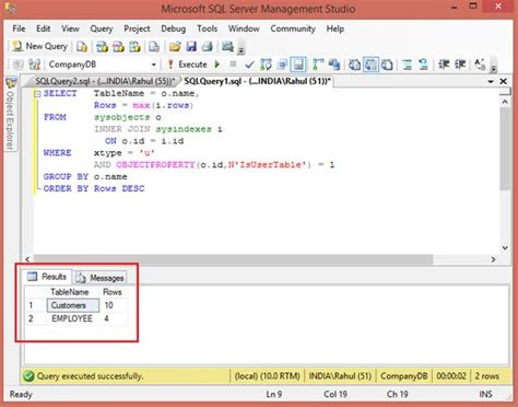 sql all tables count all tables rows in sql server