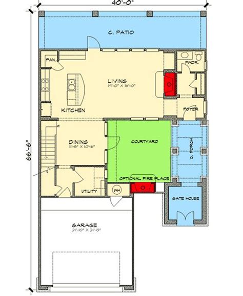 house plans with a courtyard courtyard home plan