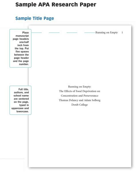 Apa Title Page Format For Research Paper by 40 Apa Format Style Templates In Word Pdf Template Lab