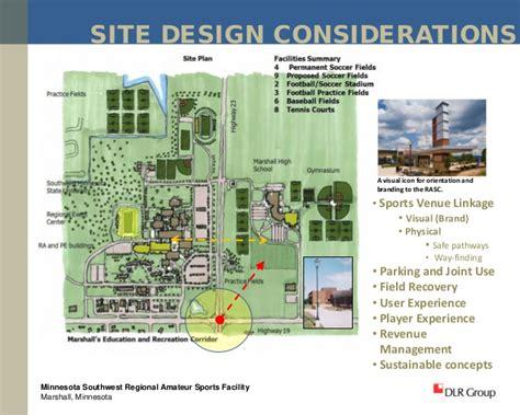 facility layout design considerations southwest regional amateur sports center marshall mn