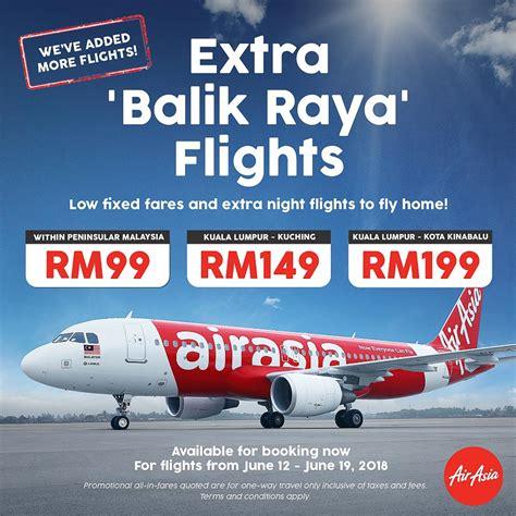 airasia extra airasia balik raya late night fixed fare flights economy