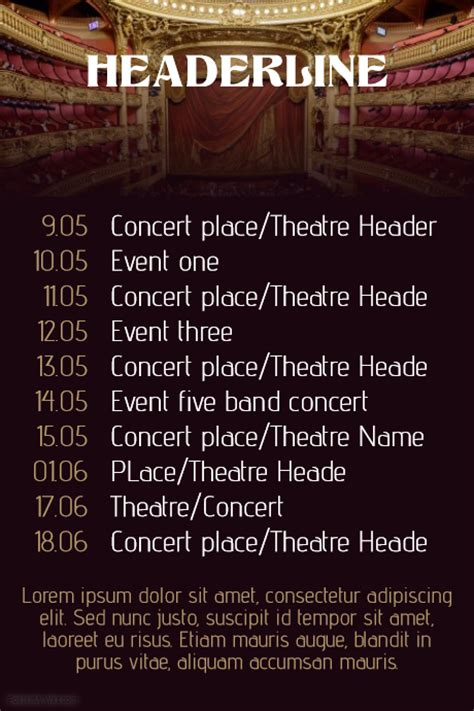 calendar poster template concert band tour theatre schedule calendar flyer template