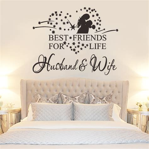 photos of husband and wife in bedroom new best friends words quote home decor wall sticker