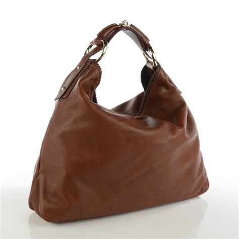 Gucci Chain Large Hobo by Gucci Calfskin Large Horsebit Chain Hobo Brown 123300