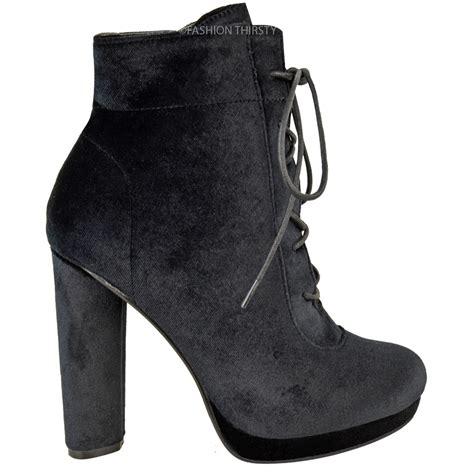 High Heel Ankle Boots Velvet womens platforms block high heel ankle boots lace
