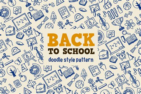 doodle theme free back to school patterns on creative market