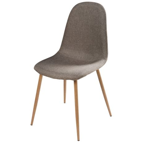 grey fabric and faux wood metal chair clyde maisons du monde