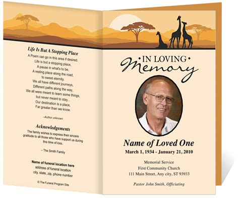 funeral program card template free free funeral program template