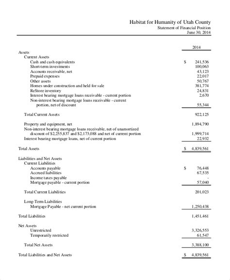 non profit financial statement template income statement template 8 free word xls pdf