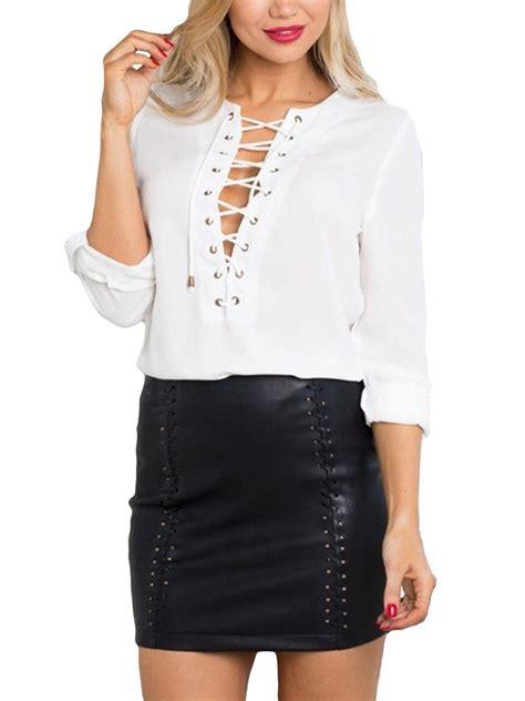 sleeve lace up shirt white chiffon lace up sleeve v neck t shirt