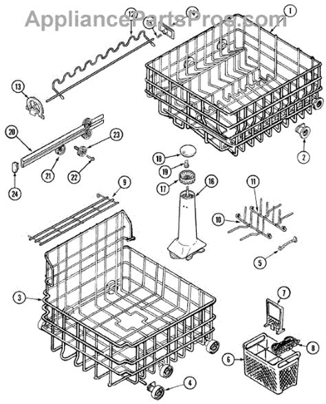 maytag dishwasher parts diagram parts for maytag dwu9502aam track rack assembly parts
