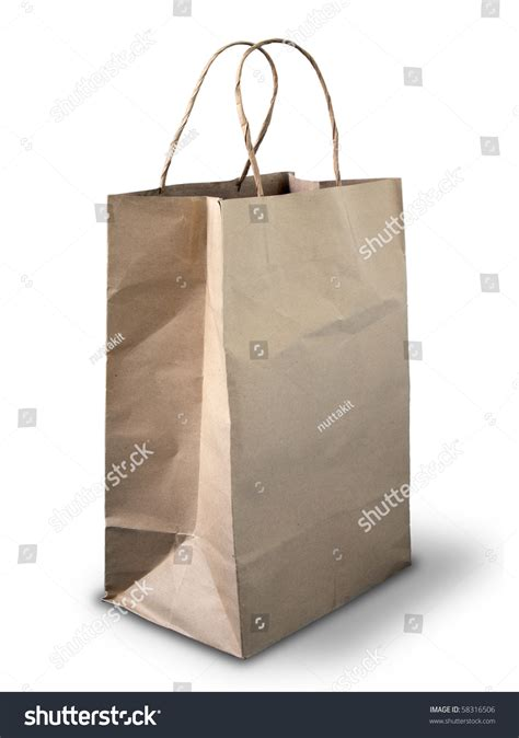 Bags On The Floor by Brown Crumpled Paper Bag On White Floor Stock Photo
