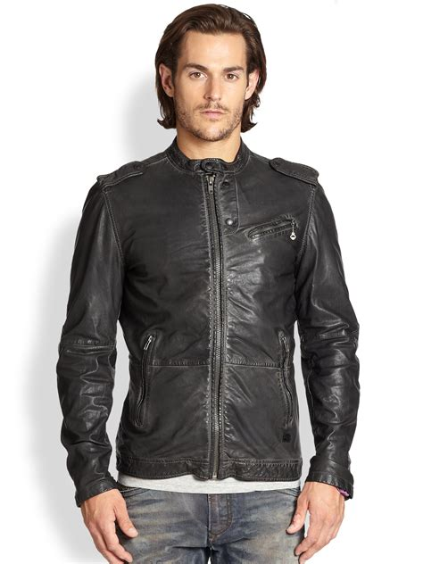 Diesel 7758 Grey Black Leather lyst diesel leprandis leather biker jacket in black for