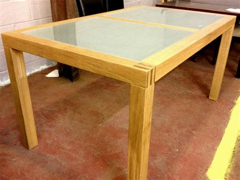 Loevestein 160cm Glass Oak Dining Table Clearance Second Oak Dining Table