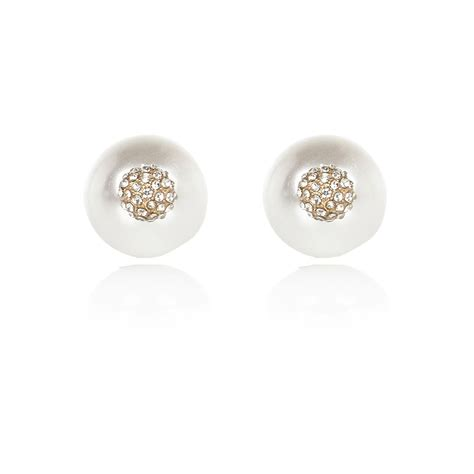front and back earrings river island faux pearl front and back earrings in white pearl lyst
