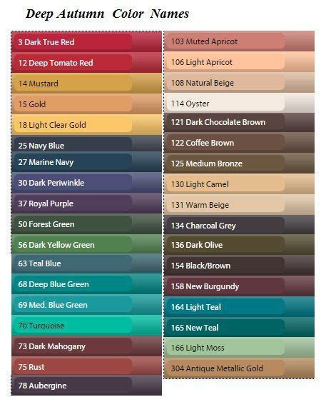 best colour names 25 best ideas about deep autumn on pinterest dark