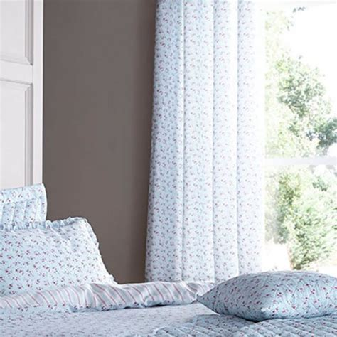 duck egg blue and pink curtains catherine lansfield ditsy eyelet curtains in duck egg blue
