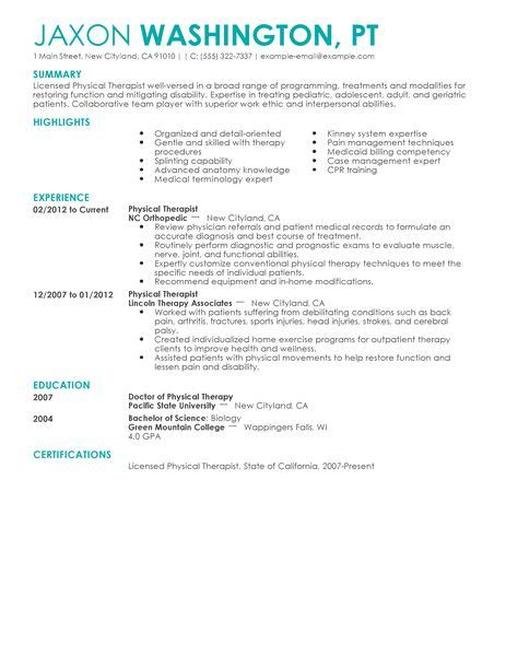 physical therapist resume exle sle resumes livecareer