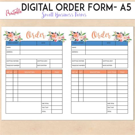 Digital Order Form Printable Template Custom Personalised Small Business Handmade Etsy Custom Order Form Template Free