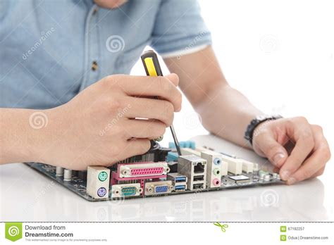Hardware Technician by Technician Fixing Computer Hardware Stock Photo Image 67182257