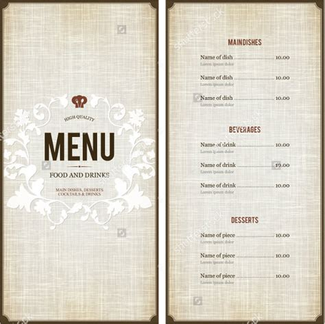 create a menu template 28 images menu template word